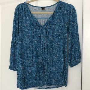 Ann Taylor Blue Patterned 3/4 Sleeve Top